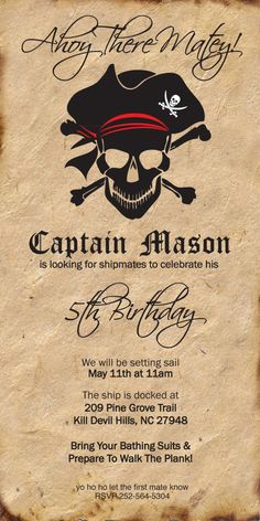 Pirate Invitation por TheBurchsDesigns en Etsy