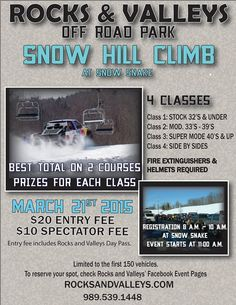 Snow Hill Climb at Snow Snake on Saturday, March 21! $20 entry fee, $10 spectator fee. Event starts at 11 a.m.