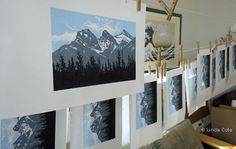 Wonderful view of the printmaking process - Linda Cote - Canmore's Three Sisters mountains Three Sisters, Mountain Landscape, Rocky Mountains, Printmaking, Photo Wall, My Arts, Palette, Art Prints, Layers