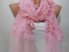 Pink Lace and Tulle Cowl Scarf Shawl by ScarfClub