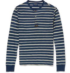 Polo Ralph Lauren Striped Cotton-Jersey Henley T-Shirt - $100