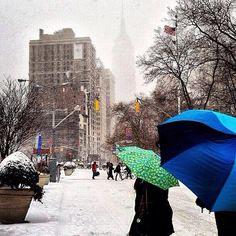 Beautiful snow in Manhattan.