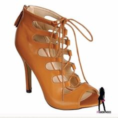 """HotCamel Lace Up Open Toe Booties 8 Wow! Perfect Fall, Spring transition shoe and so fabulous! Vegan camel leather and zip up back for easy on and off. Laces for adjusting width and fit. They are hot! 4.5"""" heel. Extra heel taps. New in box. Size 8 Eye Candie Shoes Ankle Boots & Booties"""