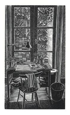 Andy English. Pam's Desk. (wood engraving)