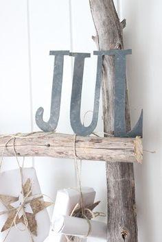Jul zinc letters, Scandinavian vintage style.