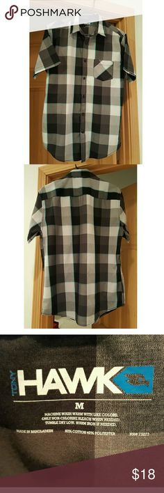 TONY HAWK Plaid Button-Down Shirt Boys 8-20 Black, grey, teal plaid button-down boys shirt great for tucking in to dress up, or wearing open with a t-shirt for a more casual look.  Cotton/Polyester, machine wash/tumble dry.  Perfect condition. Shirts & Tops Button Down Shirts