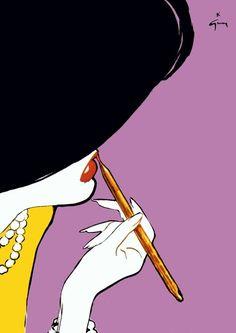 Illustration by Rene Gruau Jacques Fath, Art And Illustration, Pop Art, Arte Fashion, Retro, Rene Gruau, Alphonse Mucha, Pierre Balmain, Fashion Sketches