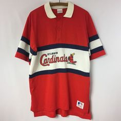 Vintage St. Louis Cardinals Nutmeg Mills Polo Style T-shirt Size XL Made in USA #Nutmeg #StLouisCardinals