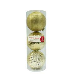 Maker's Holiday 3pk Shatterproof Ornaments-Gold