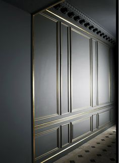grey wall paneling with brass trim, I really want to do some molding treatments on my walls...