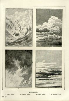 Antique Print, CLOUDS Meteorology 1905 wall art vintage b/w lithograph illustration natural science chart