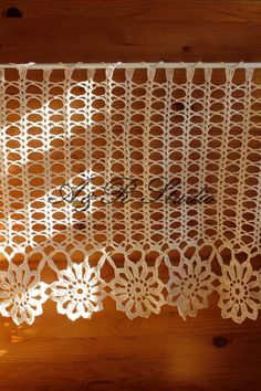 Crochet curtain. Filet crochet curtain. Like the curtain rod edge.