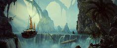 The Long Journey Picture  (2d, fantasy, landscape, matte painting, airship)