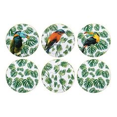 This set of 6 Jungle coasters is very on trend with the tropical trend. This funky set of table coasters includes 6 different designs backed onto round cork coasters.