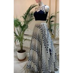 White and black zig zag printed crop top lehenga