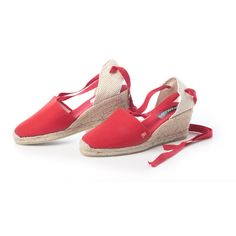 Red Ankle-tie Espadrille Wedges for Women by Viscata