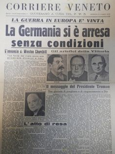 Fine della II° Guerra Mondiale. Newspaper Front Pages, Old Newspaper, First Page, World War Two, Past, Digital Art, Vintage, Robert Capa, Printing Press