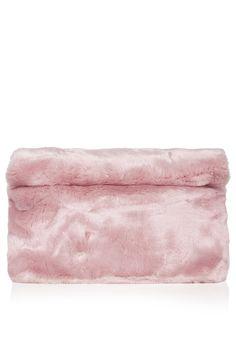 Faux Fur Roll-Top Clutch