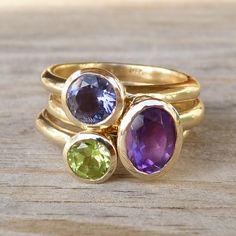14k Yellow Gold Hyacinth Gemstone Stacking Rings by onegarnetgirl,