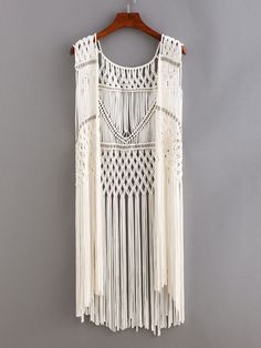 Beaded Macrame Fringe Open-Front Top - White.