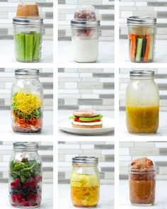 healthy eating - Mason Jar Hacks 9 Ways Recipes Mason Jar Meals, Meals In A Jar, Mason Jar Recipes, Mason Jar Lunch, Drinks In Mason Jars, Mason Jar Food, Mason Jar Smoothie, Mini Mason Jars, Healthy Snacks