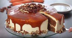 Carrot cake with Salt caramel No Bake Desserts, Vegan Desserts, Baking Recipes, Cookie Recipes, Sweet Bakery, Sweet Pastries, Desert Recipes, Let Them Eat Cake, Yummy Cakes