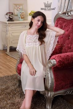 Miss Linda is elegant designs of intimate apparel, Serene comfort cotton nightgowns & soft and lightweight of luxury silk elegance womens sleepwear Satin Lingerie, Bridal Lingerie, Lingerie Sleepwear, Women Lingerie, Vintage Nightgown, Sleepwear Women, Beautiful Lingerie, Modest Fashion, Night Gown