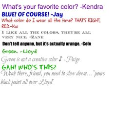 #26 ! :D Now we know to watch out when we say our favorite color is green...
