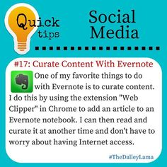 Another great use of Evernote! #socialmediatips #bloggingtips #Evernote #success #TheDalleyLama