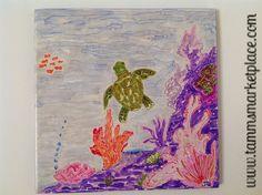 Turtle swimming under the sea