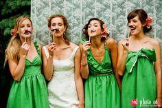 mismatched bridesmaids (+mustaches)