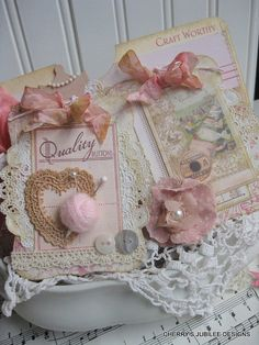 shabby chic sweet sewing pocket full of handmade toile and damask style tags gift decoration