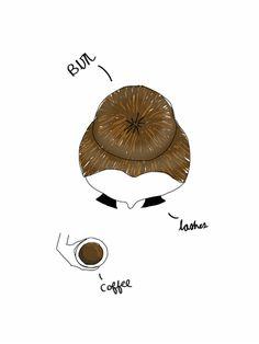 Bun, Coffee, Lashes Art Print  Britt Appleton