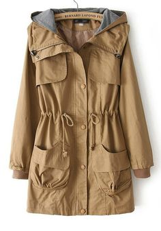 ++ Khaki Plain Drawstring Trench Coat