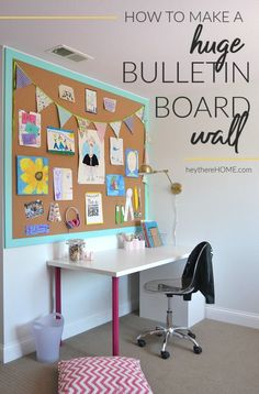 How to make a large cork board wall perfect for your home office! Click through for tutorial  #bulletinboard #corkboard #workspace #homeoffice #commandcenters #kidsartwork #desks via @heytherehome.com
