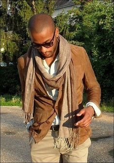 Men's Brown Suede Blazer, White Long Sleeve Shirt, Khaki Chinos, Tan Scarf