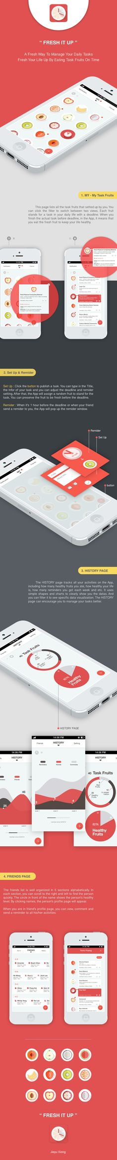 """Fresh It Up"" - App Design by Jieyu Xiong, via Behance"