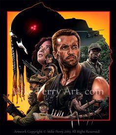 My Favorite Movie Mike Perry Alien Vs Predator 2004, Predator Movie, Predator Alien, Geek Movies, Action Movies, Arnold Schwarzenegger Predator, Arnold Movies, Mike Perry, Movie Poster Art