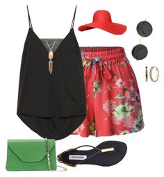 """""""plus size summer pretty"""" by kristie-payne ❤ liked on Polyvore featuring LE3NO, Steve Madden, By Malene Birger, Valextra, Kendra Scott and The Sak"""