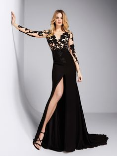 Black cocktail dress with sheer effects