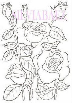 Pintura em Tecido Passo a Passo: Riscos de rosas para pintura em tecido                                                                                                                                                      Mais
