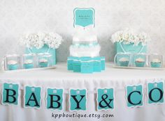 Tiffany & Co. Inspired  Baby Shower  Bridal Shower Sweet Sixteen Party Package for 24. $77.00, via Etsy.