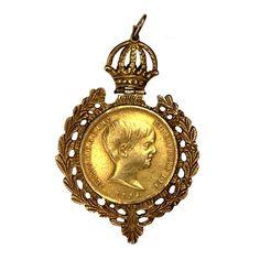 Moeda de Ouro 22k. Império. 10.000 1834. Moldura em ouro 14 k , com ramos de café entrelaçados, enci
