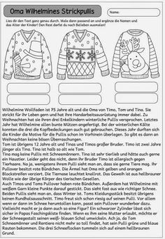 Mitdenktext zur Weihnachtszeit Ein neuer Mitdenktext ist fertig. Hier soll man durch genaues Lesen die Pullis anmalen und auch den Nam...