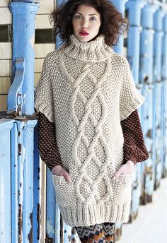 93b62fbd4d379 Knit a cable and moss-stitch tunic    free knitting patterns    Craft ideas     UK knitting patterns