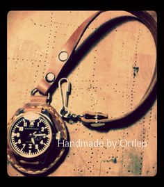 Leather pocket Watch For men in vintage style