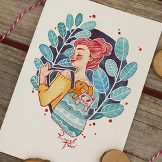 Raquel Travé Illustration — My first time using red ink for outline… It won't. Cartoon Kunst, Cartoon Art, Watercolor Illustration, Watercolor Art, Arte Sketchbook, Marker Art, Aesthetic Art, Cute Drawings, Cute Art