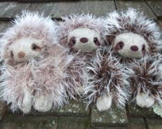 Sloth plush toy, hand knit and felted sloth stuffed animal, sloth toy, made to order Baby Sloth, Cute Plush, Hand Knitting, Knitting Ideas, Soft Colors, Etsy Store, Sloths, Crafty, Toys