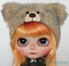 Beary Heaven Hand Dyed Blue Tip Hazel Brown Mohair Teddy Bear Hat Helmet for Blythe doll