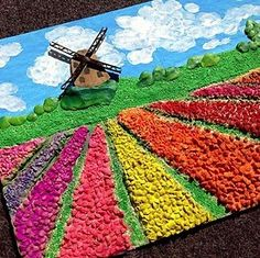 "The application of the cultivars ""Tulip field"" Drawing For Kids, Painting For Kids, Art For Kids, Kindergarten Art Projects, School Art Projects, Art Education Lessons, Art Lessons, Spring Art, Summer Art"